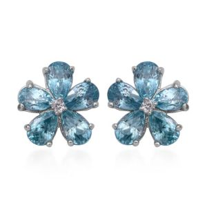 Ratnakiri Blue Zircon and Cambodian White Zircon Floral Stud Earrings