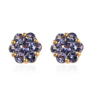 Tanzanite Floral Stud Earrings