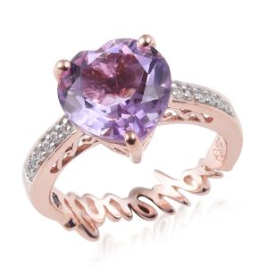 Rose De France Amethyst and Multi Gemstone Solitaire Design Ring
