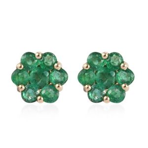 Brazilian Emerald Floral Stud Earrings with Push Back in 9K Gold