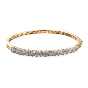 Diamond and Blue Sapphire Stacker Bangle in Gold Plated Silver