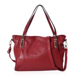 100% Genuine Leather Litchi Pattern Crossbody Bag with Detachable Strap
