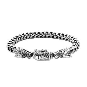 Double Dragon Head Snake Chain Bracelet in Sterling Silver