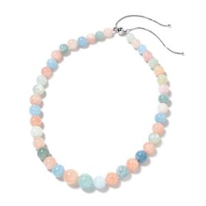 Morganite and Multi Gemstone Beaded Ajustable Necklace in Silver