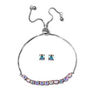 AB Crystal From Swarovski Adjustable Bolo Bracelet and Stud Earrings
