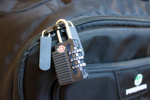 Lockable zippers on backpack