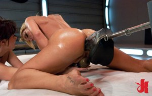 Naughty blonde takes a huge fucking dildo up her ass while playing with a Hitachi toy on her cunt
