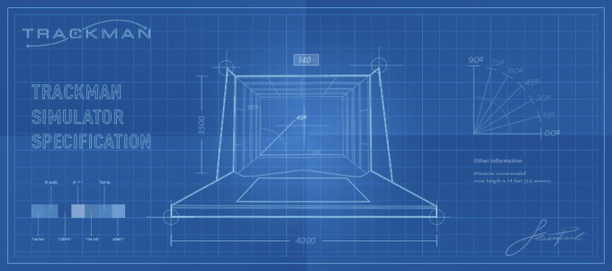 Trackman indoor golf simulator for Golf simulator room dimensions