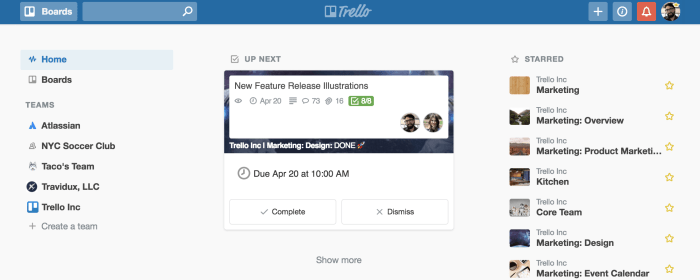 Trello Home Up Next: See due dates