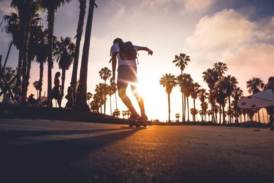 Skateboarding in the sunshine