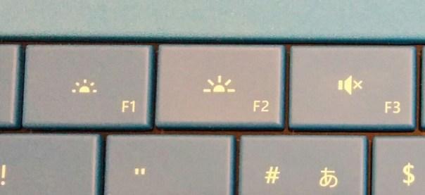 SurfacePro3タイプカバーのF1とF2キー
