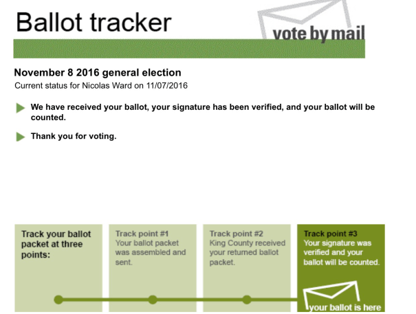 A screenshot from the King County Elections web site confirming that my vote by mail ballot has been received and checked.