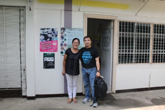 Father Henry Diesta visits the CFCA office in Antipolo, Philippines.
