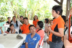 Antipolo project coordinator Malou Navio with sponsored friends during Father Henry's visit.