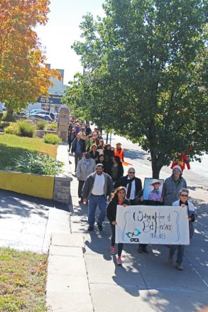 CFCA staff members walk from the world headquarters to Bob's Kansas City memorial Mass.