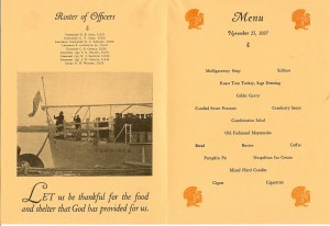 Roster of Officers & Menu - First Anniversary and Thanksgiving Day Dinner, USS Cummings DD-365, November 25, 1937.