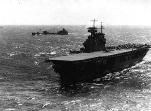 Yorktown (CV-5) puts to sea after Japanese attack in Philippines