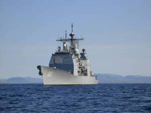 USS Normandy Arrives off Coast of Port-Au-Prince Haiti Relief. Official USN photo.