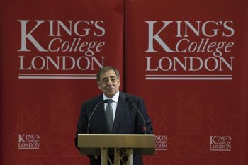 U.S. Defense Secretary Leon E. Panetta speaks at Kings College in London, Jan. 18, 2013. DOD photo by Erin A. Kirk-Cuomo