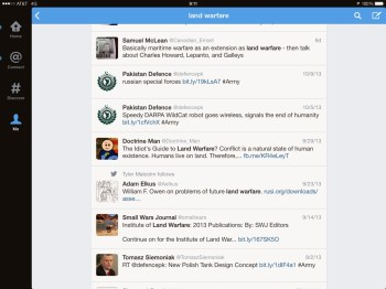 Search for Land Warfare on Twitter for iPad