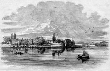 General View of the Naval Academy, Annapolis, Maryland, a wood engraving after a drawing by W. R. Miller