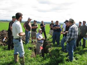 Joel Myers talks soil health  at 2014 field in  Addison County .