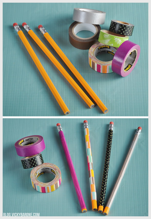 DIY Washi Tape Pencils | Vicky Barone