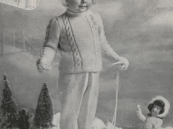 kids Snow Suit and Hat knitting pattern for girls
