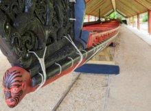 Restored ceremonial canoe