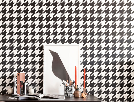 Black & White Dogstooth Wallpaper R2542