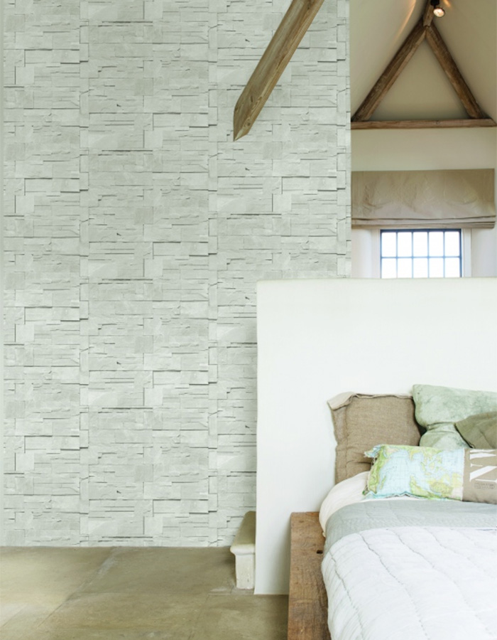 Block Stone Ash Brick Wallpaper Bedroom - R1874