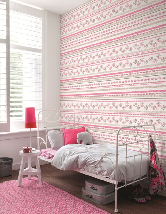 Bright Pink & White Girls Bedroom Wallpaper - R1027