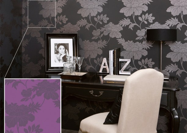 Gardenia Violet R1736 in Radiant Orchid Contemporary Wallpaper Colour