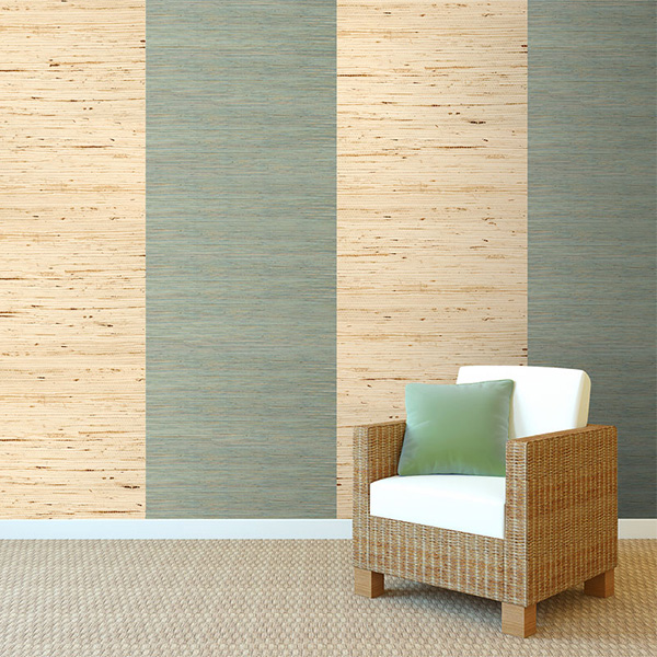 Raw Ramie Green Grasscloth Wallcovering R2004 & Arrowroot Off-White Grasscloth R1985