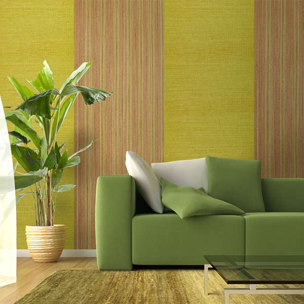 Sisal Bright Green Grasscloth Wallpaper R2013