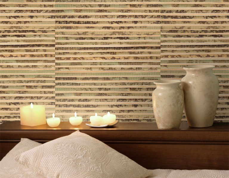 Bamboo Army Green Grasscloth Bedroom Wallpaper R2008