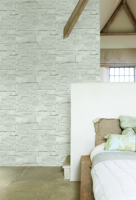 Block-stone Ash Faux Stone Wallpaper R1874