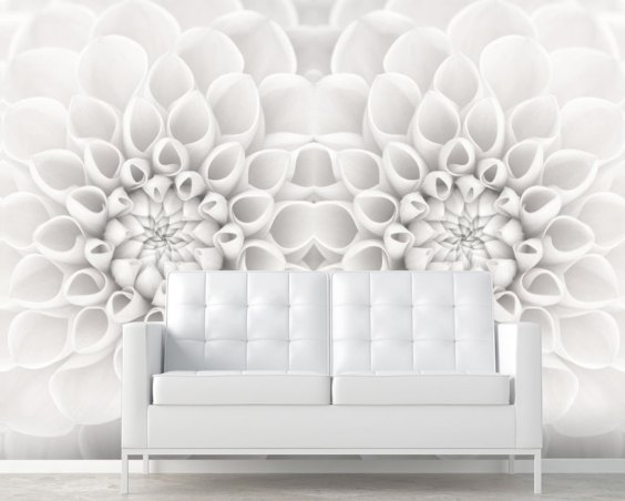 White Bloom Floral Wall Mural M8955
