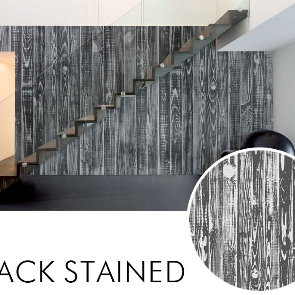 Black Stained Striped Faux Wood Wall Mural M8981