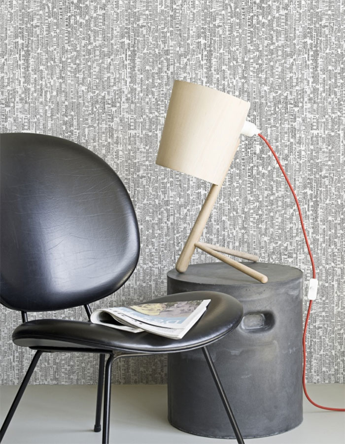 Expression Grey Newsprint Contemporary Retro Wallpaper R1394