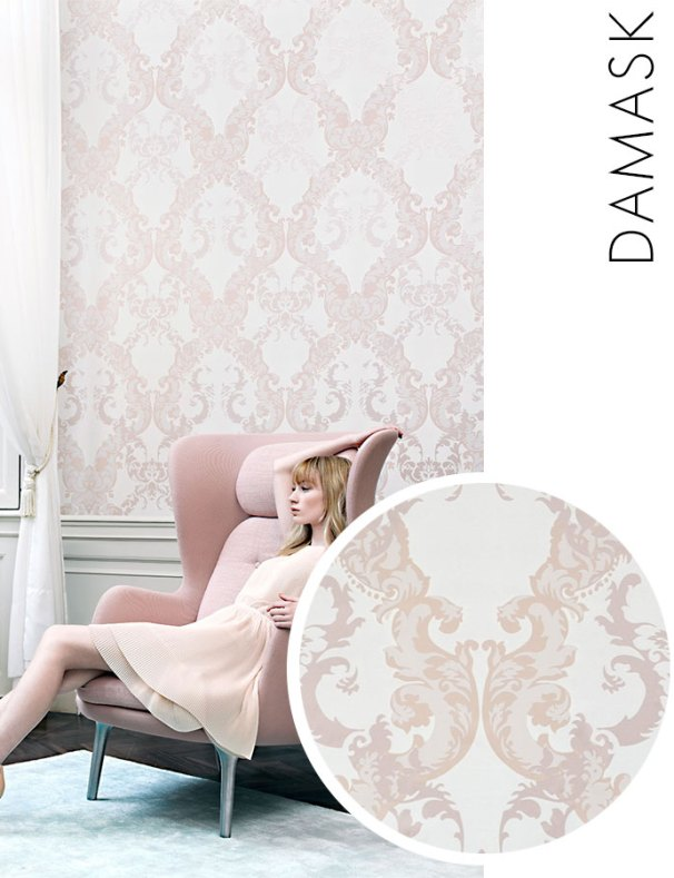 Rose Damask Wallpaper R2068
