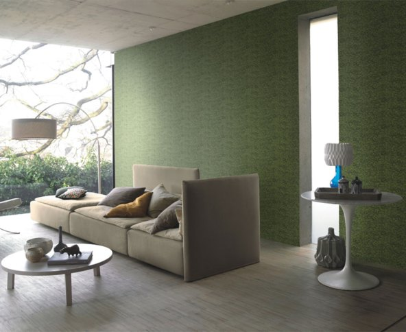 Green Moss Contemporary Living Room Wallpaper R2353