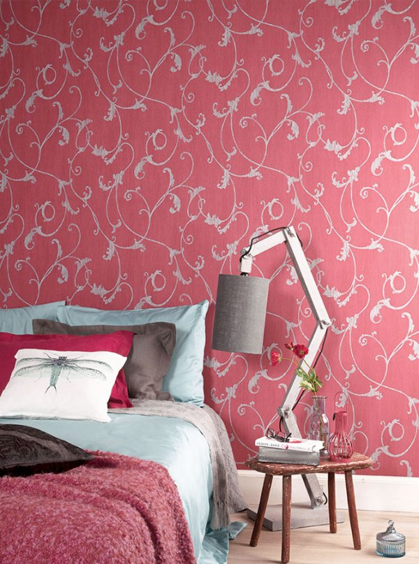 Red Thistles Floral Bedroom Wallpaper R2454