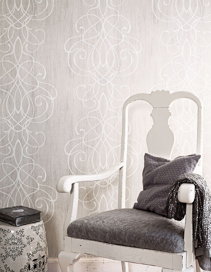 Gainsboro Embroid Striped Damask Wallpaper R2464