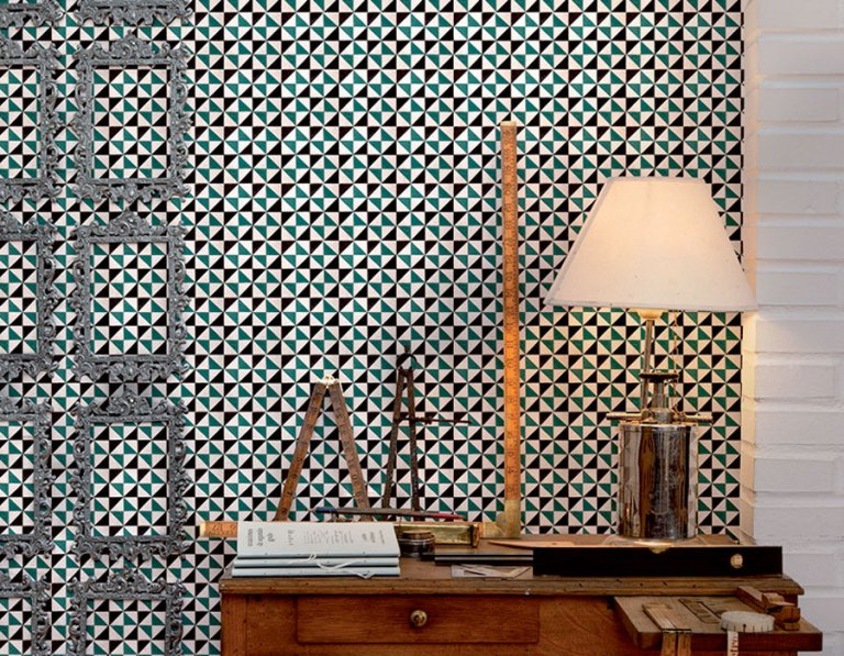 Turquoise Angles Office Wall Mural M8834