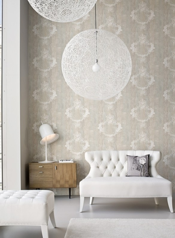 Serenity Sand Damask Faux Finish Wallpaper By Walls Republic R1373