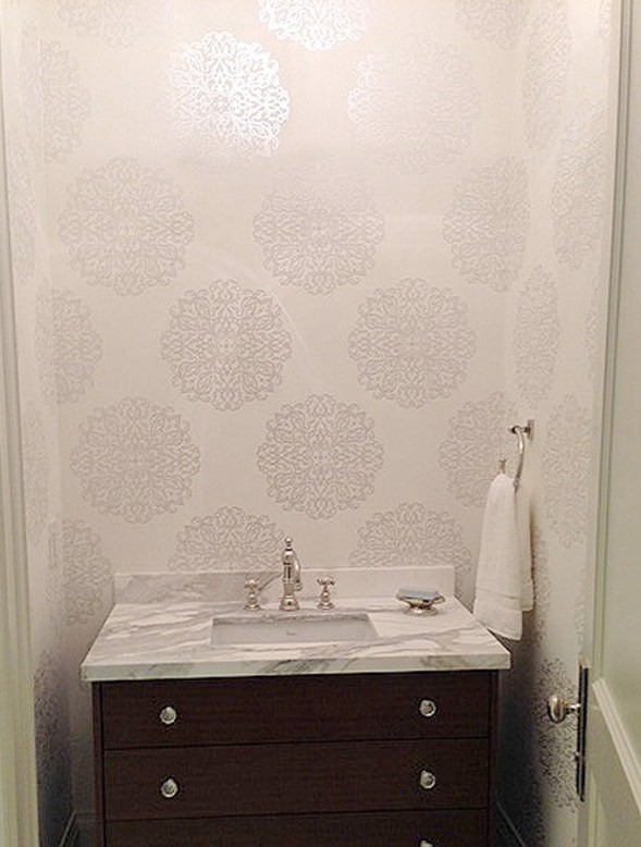 Powder Room by Ronit in Toronto with Walls Republic Wallpaper