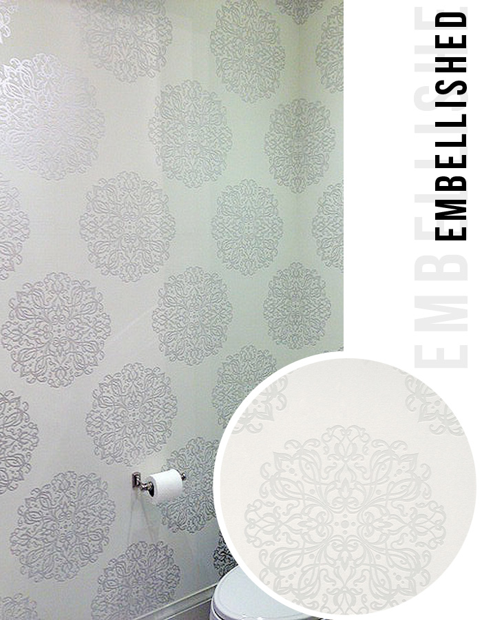Powder Room by Ronit in Toronto with Walls Republic Wallpaper White Embellished S43707