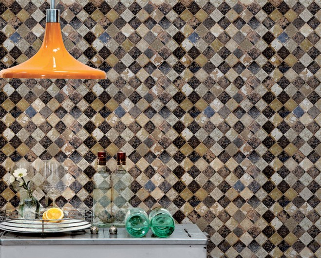 Sand Checkered Faux Tile Wallpaper M8827