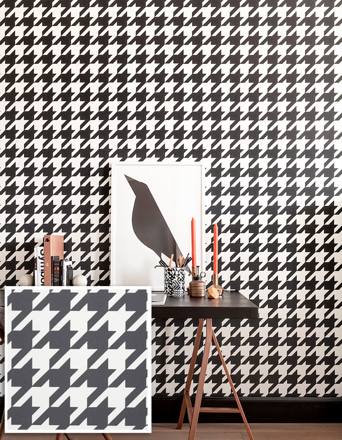 Simple Black and White Houndstooth Geometric Wallpaper by Walls Republic | Home Office Design Trends